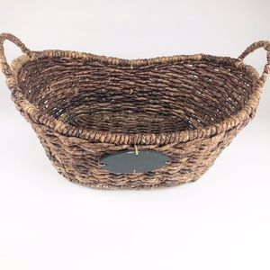 NWOT Natural Straw Basket With 2 Handles